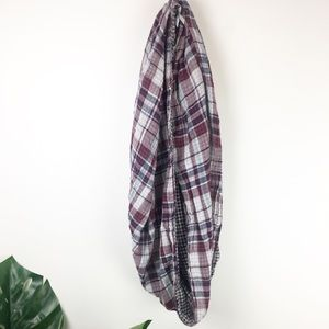 Loft reversible plaid infinity scarf one size